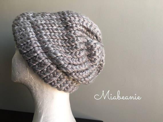 68e887eb108 Thick Knit Beanie Hat Chunky Knit Hat Gray Beanie Hat Brim