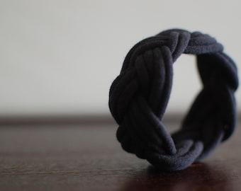 Jersey Fabric Chunky Cuff Cloth Braided Bracelet in Black