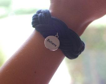 Braided Fabric Cloth Bracelet, Bangle Cuff, Woven Bracelet, Charm Bracelet, Gift Jewelry, Believe Inspire Silver Charm