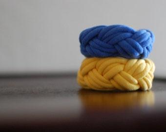 Fabric Bracelets Yellow and Blue Braided Bracelets Cuff, String Bracelet, Sports Accessories, Cloth Bracelet