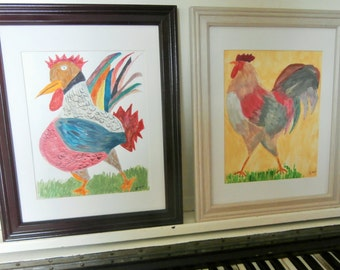 Original Children's Art,  Pair of Two, Framed, Rooster Paintings, Acrylic on Paper, Chickens