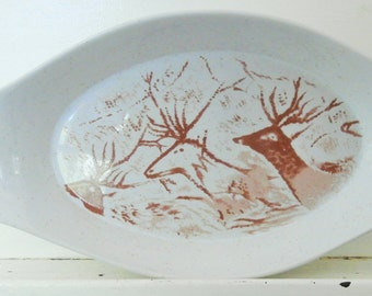 """1960's,  """"The Primitive Collection"""" The Shafford Co., Serving Dish, Deer, Southwestern, Cave Art"""