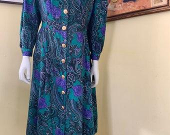 Vintage By Berkeley,1980s Long Sleeve Floral Dress,1980s Purple Floral Dress,1980s Plaid Dress,Vintage Size 12 Dress,Winter Floral Dress