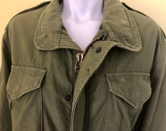 61f82c2e129be Vintage, Army Olive Green, US Military Issued, Cold Weather Field Jacket,  8415-00-782-2936, size men's small