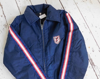 b2fe71092f4a4 Vintage, 1970's, Snowmobile/Ski Suit, Navy, Red/White Stripes, Unisex,  Child's Large, 16