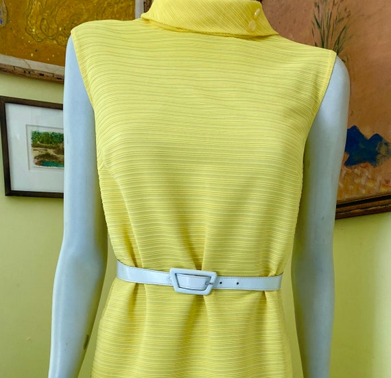 1960's, Ribbed Polyester Knit, Bright Yellow, She… - image 1