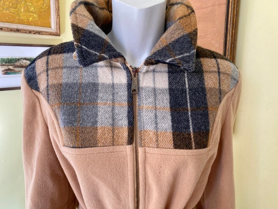 Vintage, Plaid & Camel, Wool, Belted, Lined, Women