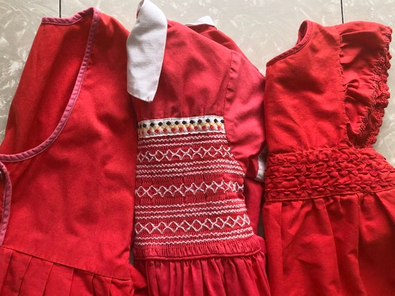 1950's-1960's, LOT Of THREE, Red Cotton, Baby Dres