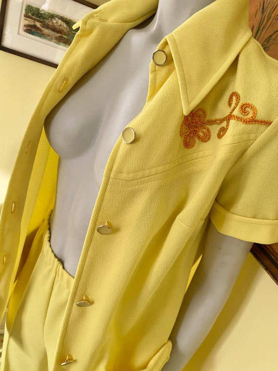 1970's, Two Piece, Western Leisure Suit, Yellow C… - image 7