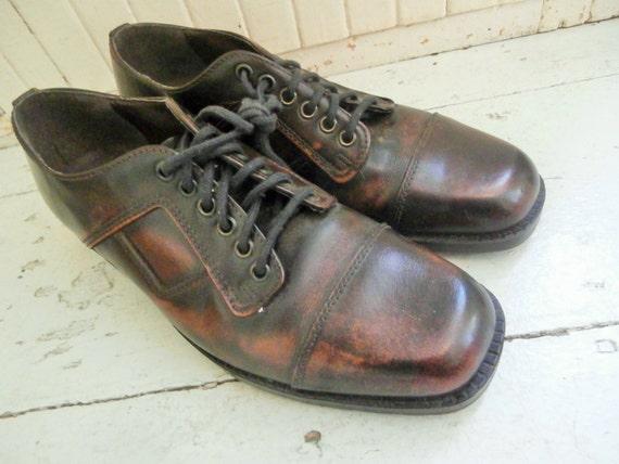 Vintage apenas usado 80s Bolos Zapatos Beige Para Hombre
