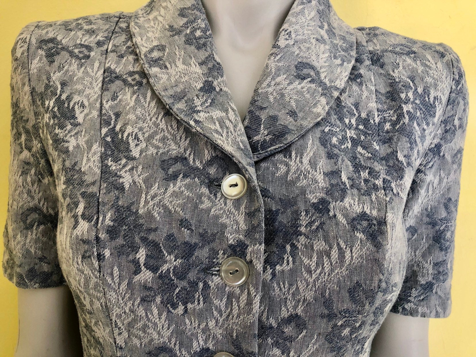 80s Dresses   Casual to Party Dresses 1980s, Damask, Powder Blue, Button Front, Tailored Dress, Shoulder Pads, Size Small $0.00 AT vintagedancer.com