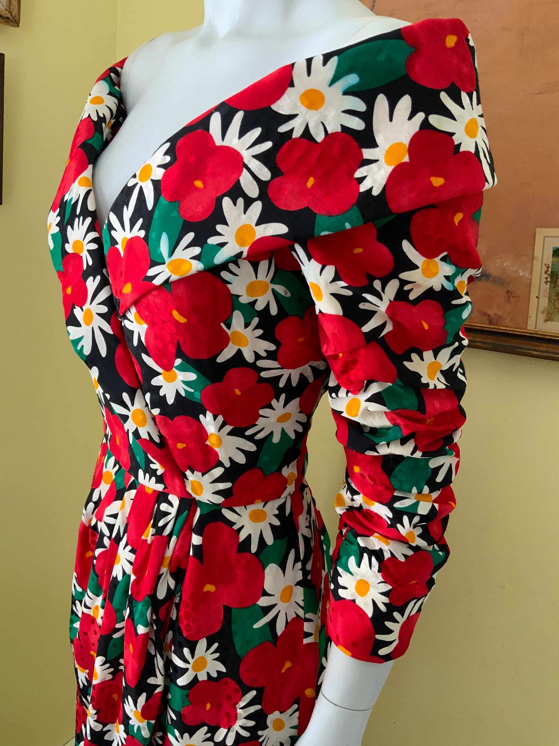 80s Dresses   Casual to Party Dresses 1980s, Scaasi Boutique, Bold Red Floral, Prom, Cocktail, Party Dress, Size S $0.00 AT vintagedancer.com