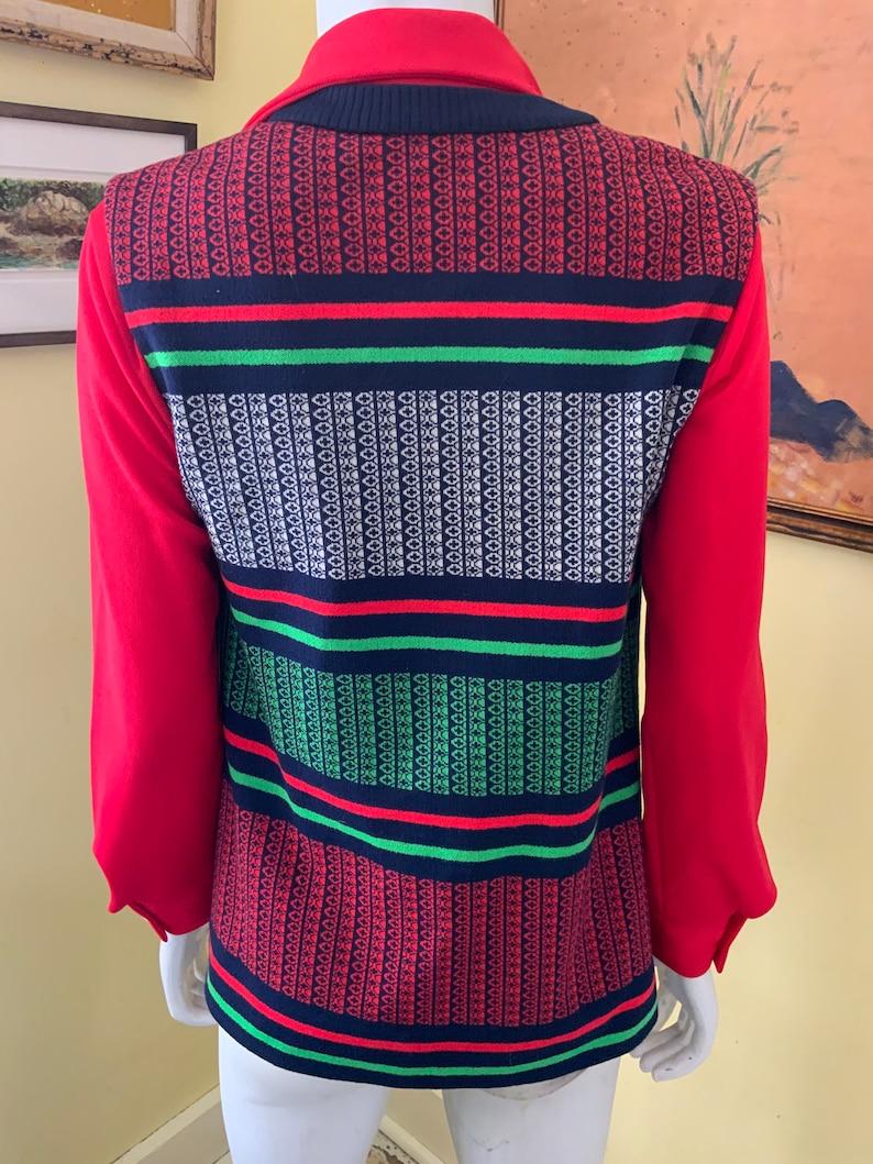 1970\u2019s STRIPED Vest and RED Blouse size sm Polyester Knit