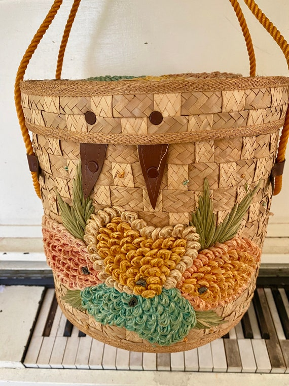 1960's, Woven, Rattan/Straw, Sewing Basket, Top Ha