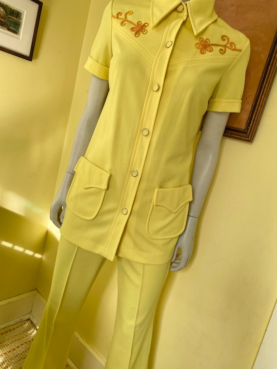 1970's, Two Piece, Western Leisure Suit, Yellow C… - image 2