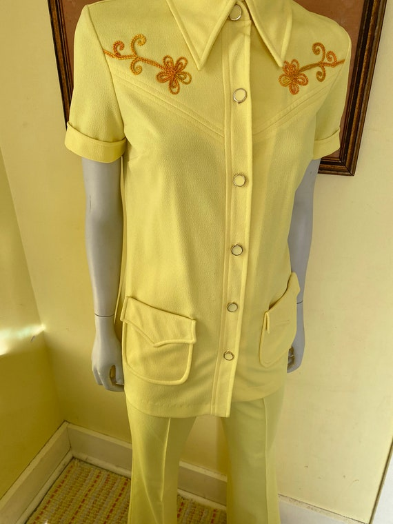 1970's, Two Piece, Western Leisure Suit, Yellow C… - image 10