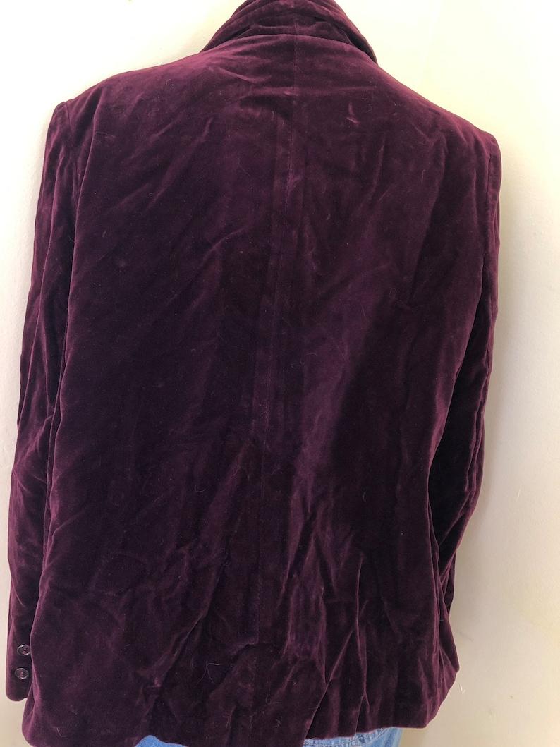 Women/'s Blazer size ml 1960-70/'s Velveteen Deep Plum
