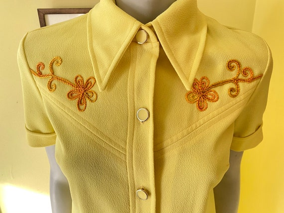 1970's, Two Piece, Western Leisure Suit, Yellow C… - image 1