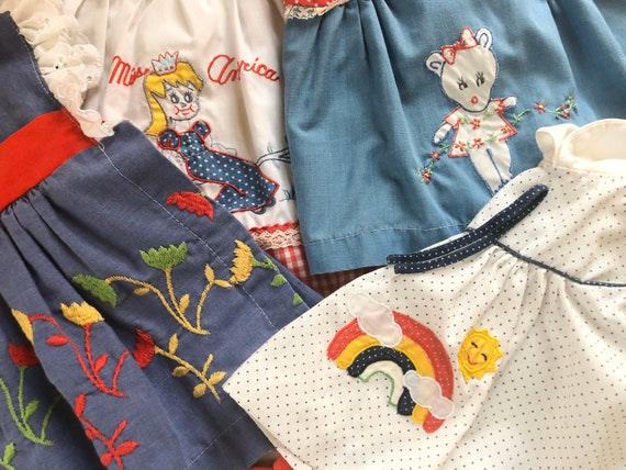 1960's, LOT Of FOUR, Appliqué, Embroidered, Baby D