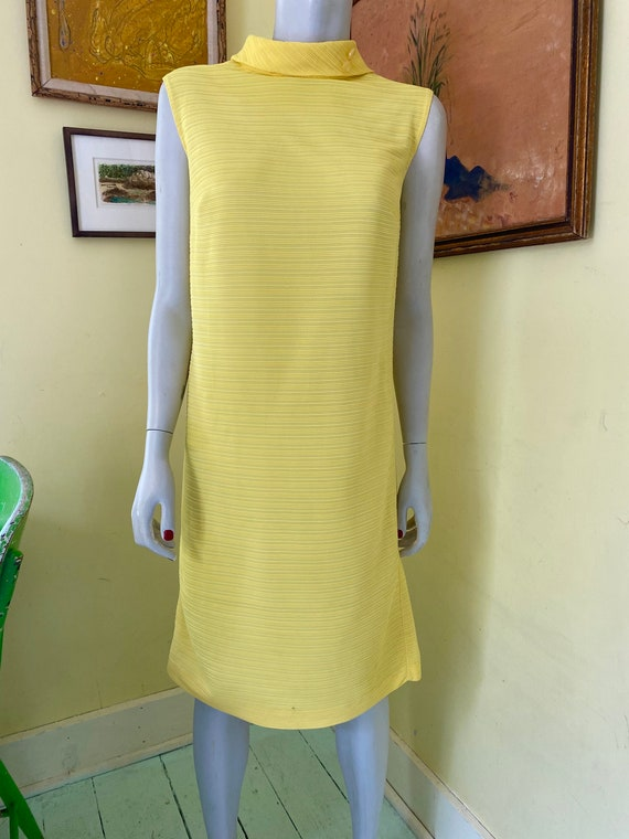 1960's, Ribbed Polyester Knit, Bright Yellow, She… - image 10