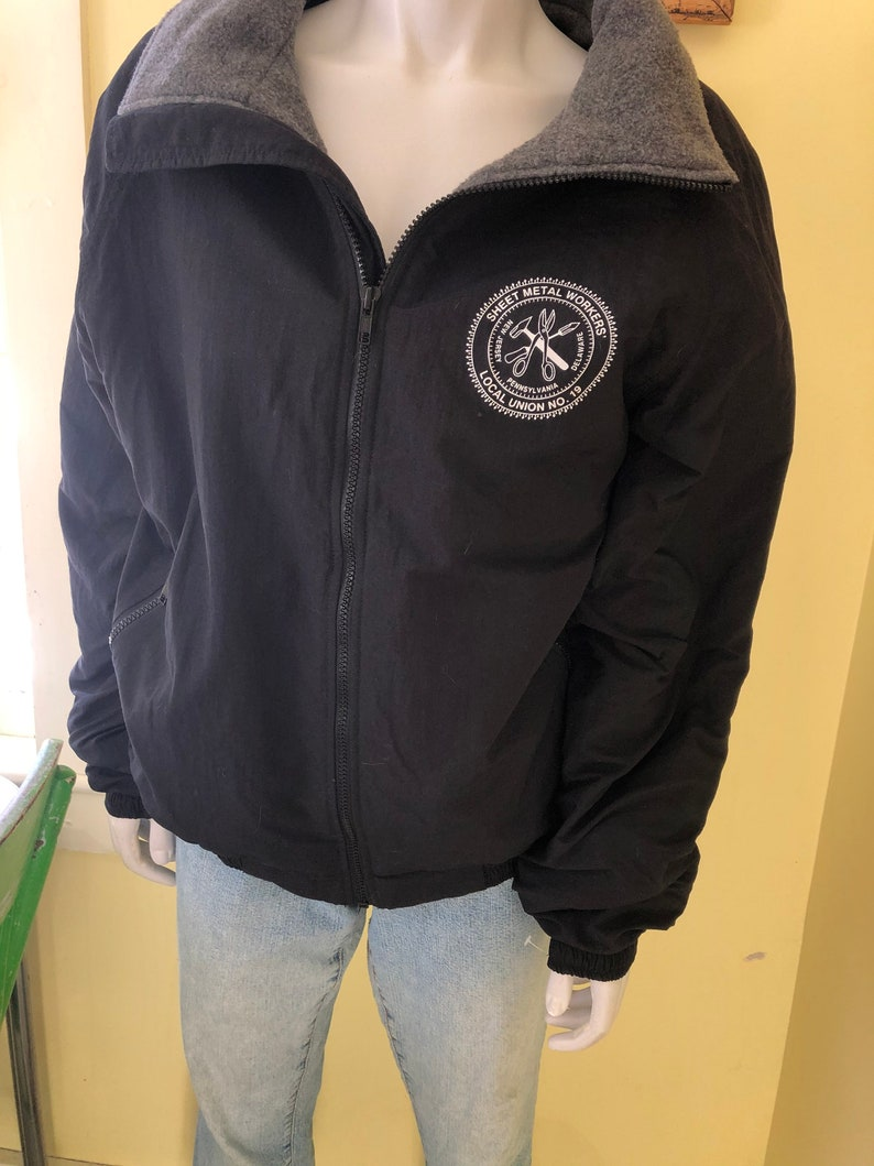 SALE Nylon Jacket Sheet Metal Workers/' Local Union No size M NJ Pennsylvania Delaware Fleece Lined 19 1990/'s