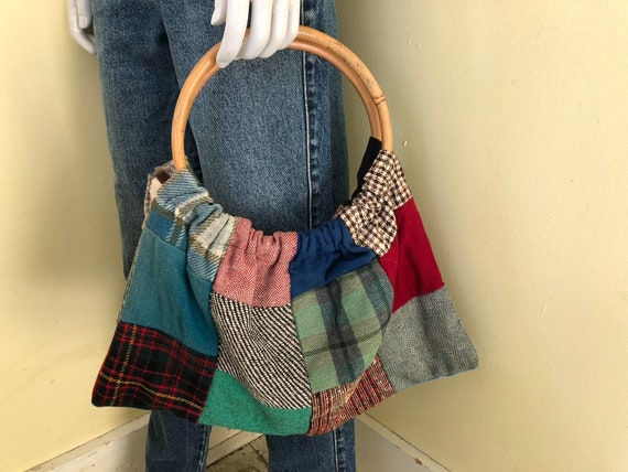 1960's, Wool Patchwork, Knitting Bag, Bamboo Top H