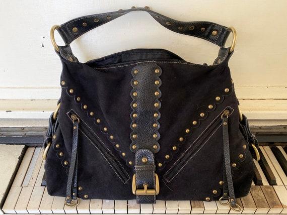 1990's, PRITZI, Black Suede, Handbag