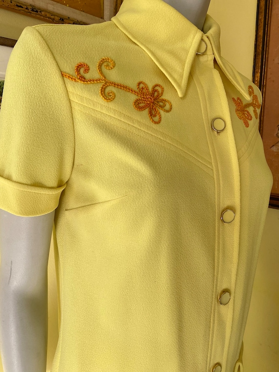 1970's, Two Piece, Western Leisure Suit, Yellow C… - image 9