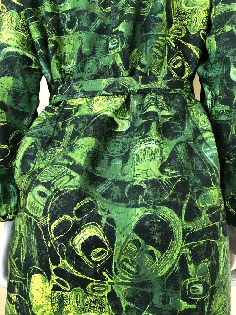 Brushed Cotton Midi size m Tiki Print Hostess Dress 1960/'s-70/'s Hawaiian