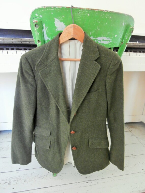 Vintage Loden Green Blazer Wool Suit Jacket Women S Etsy