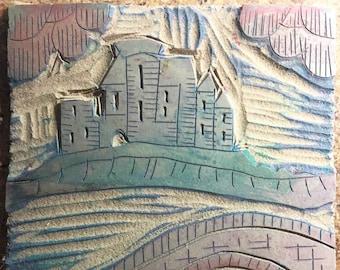 Vintage Art Supply Linoleum Block 1950s  Castle Bridge Theme for Block Printing rubber stamp stamping