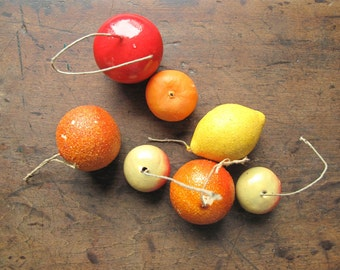 Vintage fruit faux fruit apple oranges lemon cherry tangerine decorative fruit