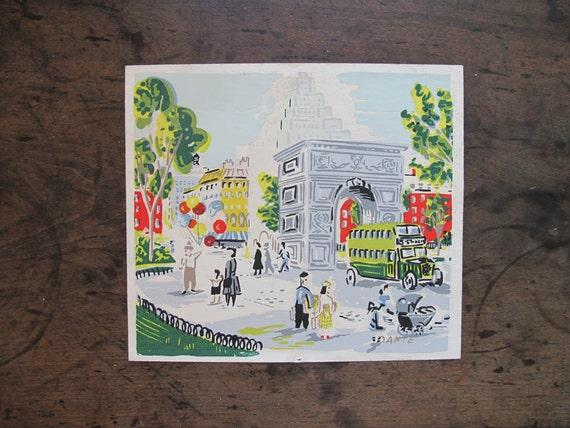 Vintage Serigraph 1950s Washington Square Arch Signed DAnte original art