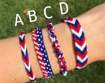 Veteran Bracelet Gift Bracelet 4th July Bracelet Patriot Bracelet Red White and Blue Bracelet
