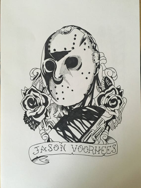 Jason Voorhees Tattoo Style Ink Drawing Etsy