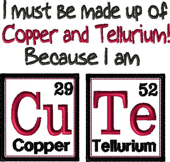 Periodic table design i am cute science embroidery etsy image 0 urtaz Choice Image