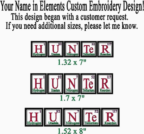 Custom Embroidery Order For Name In Periodic Table Elements Etsy