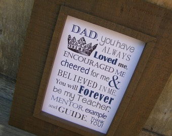 Fathers Day Gift Dad Poem Print And Pop Into Any Frame DIY Instant Download From Home Birthday For