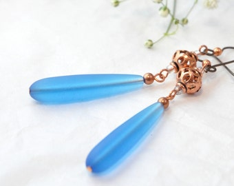 Blue Sea Glass Long Earrings, Copper Filigree and Glass Beads Statement Earrings One of a Kind Handmade