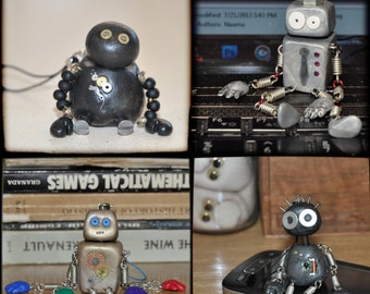 CUSTOMIZE YOUR OWN Robot Cell Bag Friend Polymer Clay Doll with Cellphone Strap Made to Order Kawaii Geekery Figurine