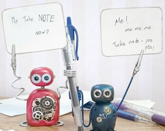 CUSTOMIZE YOUR OWN Note Robot! Note and Pen Holder Photo Holder Desk Companion Desk Organiser Kawaii Geekery Desk Decor