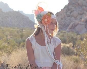 fall headbands - woodland headband - headband fall - boho flower headband - boho wedding headband - headband vintage - flower head crown