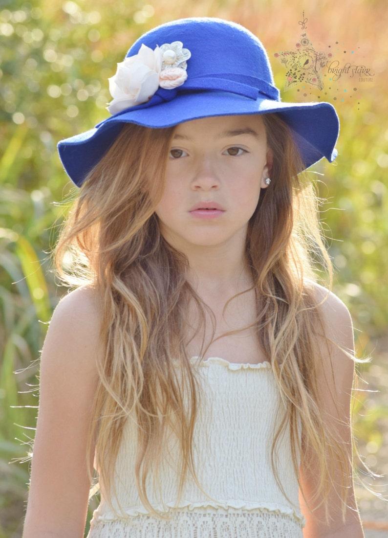 95cbf15a5 Blue floppy hat - summer hat - floppy hat - hat - felt hat - sun hat -  women's hat- blue women's hat - blue hat - kid's hat- girls hat