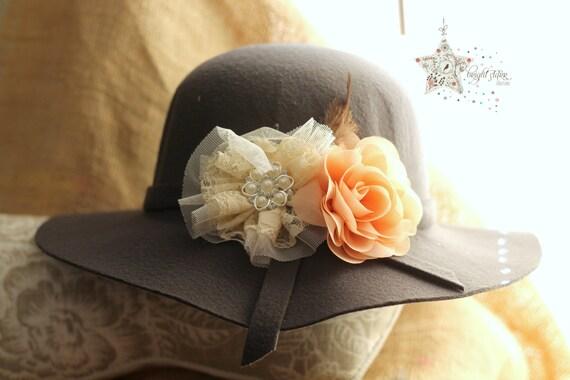 Grey felt floppy hat felt hat sun hat children s hat  a57fefe4bb40
