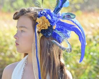 Blaue Feder Stirnband - Stücke - Marine Fascinator Haarreif - blaue Haarspange Feder - Feder Haarspange Feder - Feder Haarband