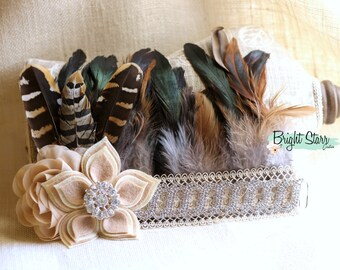 Flapper feather headband - headband with feathers - fashion hair accessories - hair accessories bridal - feather accessories - feather crown