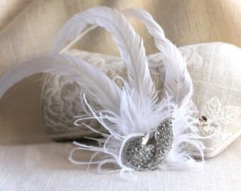 Flapper feather headband - Flapper headdress - Vintage bridal accessories - vintage bridal headpieces - headpieces for brides - bridal hair