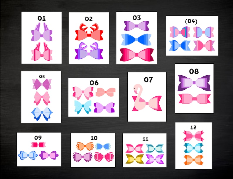 Eps and Word doc. SVG silhouette cameo Jpg,Svg Cricut Png Mega Bundle! Pdf Dxf of 33 Styles Hair bow Templates of your Choice