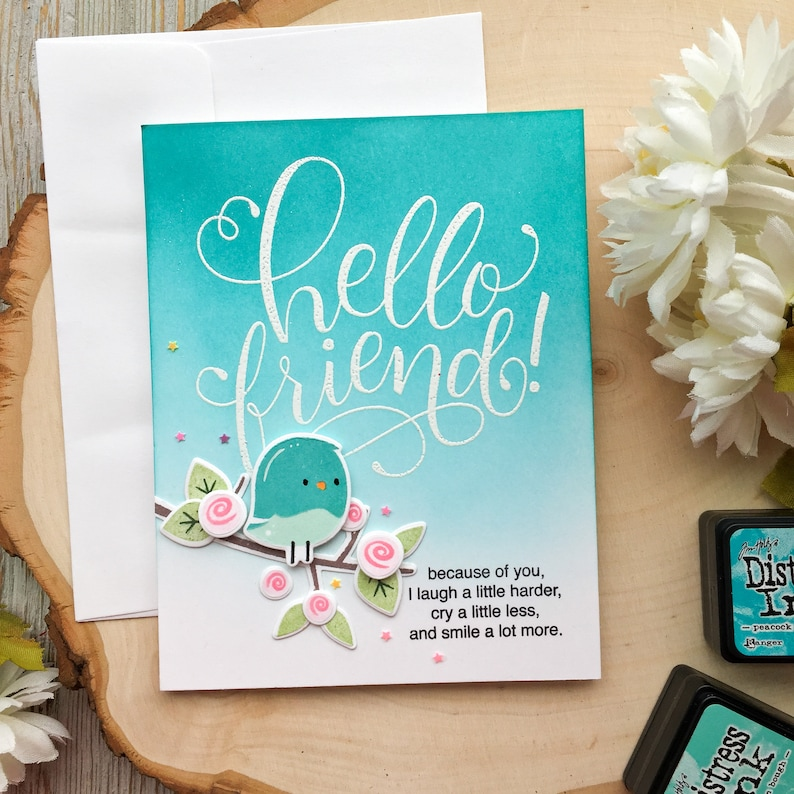 Handmade Cards Just Because Miss You Hello Cards Friend Cards A2 Greeting Card Handmade Friend Card Card For Friend Friend Missing