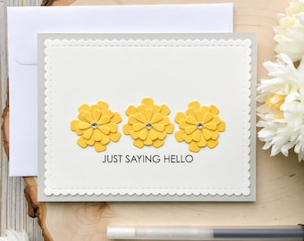 Handmade Hello Card, JUST SAYING HELLO, Card for Friend, Sending Hugs, Friend Card, Hello Cards